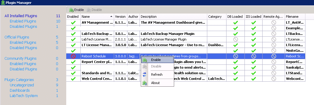 Reboot Schedule Plugin for LabTech