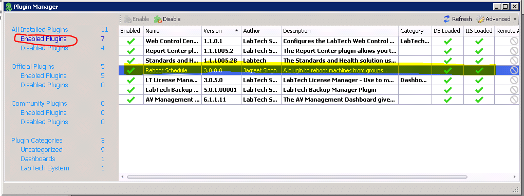 Labtech Reboot Schedule Plugin Manager