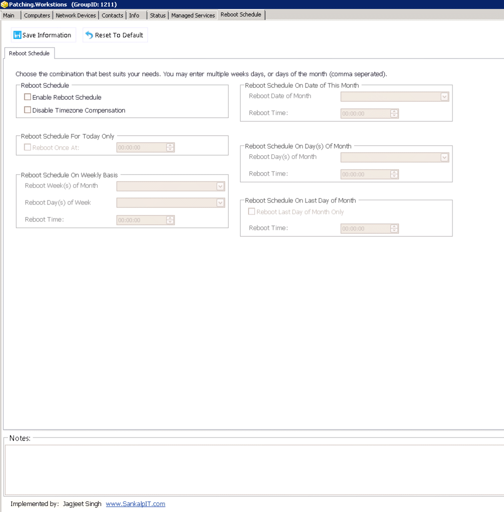 Reboot Schedule Patch Workstations