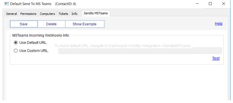 default sendto ms teams incoming webhooks info