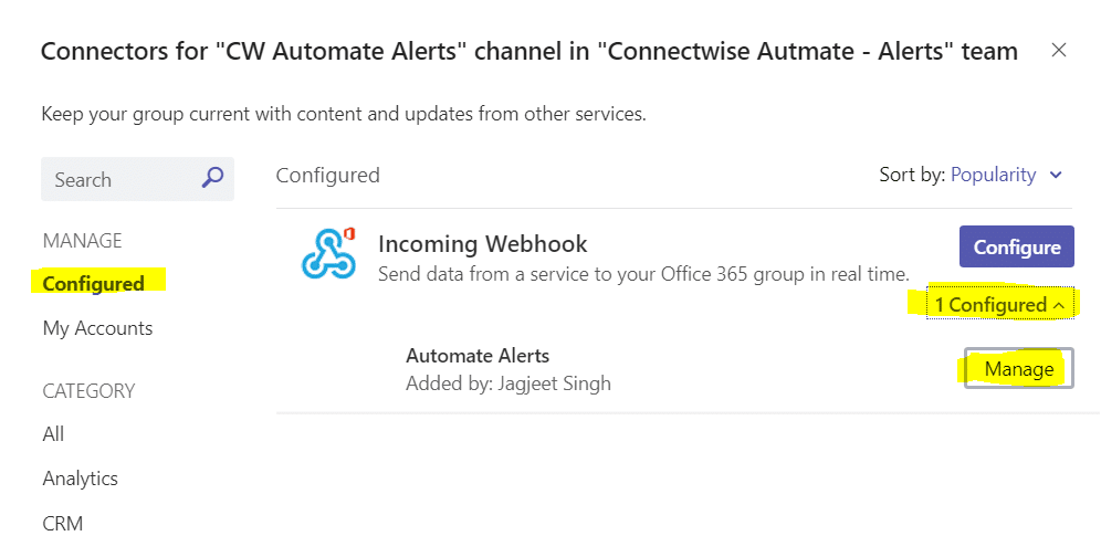 incoming webhook configured and manage