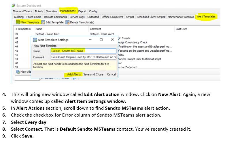 new alert action to default ms teams