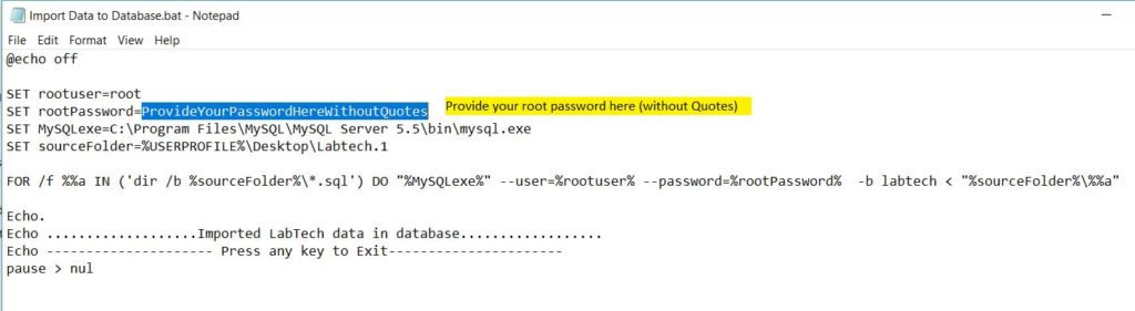 "know the ""RootPassword"" by using batch script called"